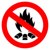 No open fire vector sign. Illustration isolated on white background Stock Photo