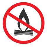 No open flame sign. No fire, No access with open flame prohibition sign. Red, black and white vector illustration Stock Images