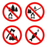No open flame sign. No fire, No access with open flame prohibition sign. Red, black and white Royalty Free Stock Photo