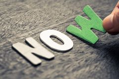 Free NO OR NOW Royalty Free Stock Image - 103553656