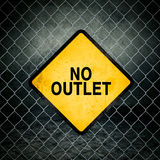 No Outlet Grunge Yellow Warning Sign on Chainlink Fence Royalty Free Stock Images