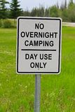 A no overnight camping, day use only sign.  Stock Photo
