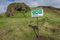 No camping sign in Iceland. No overnight stay sign near Dyrholaey cape in south part of Iceland stock image
