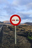 No overtaking road sign in volcanic Royalty Free Stock Photography