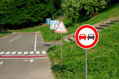 No overtaking sign on the training kids road Stock Photo