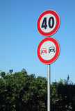 No Overtaking Speed Limit Road Signs Stock Photography