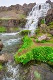 No pé de uma cachoeira Dynjandi, Islândia Foto de Stock