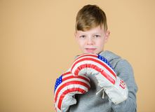No pain no gain. Fitness diet. energy health. Sport success. sportswear. workout of small boy boxer. usa independence. Day. child sportsman in boxing gloves royalty free stock photo