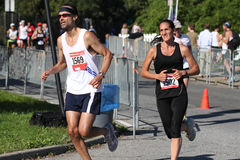 No pain no gain. Runners at the half marathon on October 9 th, on Staten Island, New York stock photography