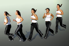 No pain, no gain. A Middle aged women in different running positions royalty free stock photos