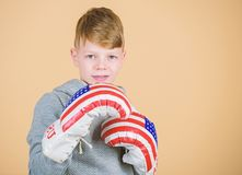No pain no gain. Fitness diet. energy health. Sport success. sportswear. workout of small boy boxer. usa independence. Day. child sportsman in boxing gloves stock photos