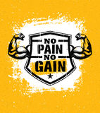 No Pain No Gain. Gym Workout Motivation Quote Vector Concept. Sport Fitness Inspiration Sign. Muscle Arm. With Shield Vector Illustration On Distressed Royalty Free Stock Photos