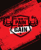 No Pain No Gain. Gym Workout Motivation Quote Vector Concept. Sport Fitness Inspiration Sign. Muscle Arm Stock Images