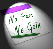 No Pain No Gain Notebook Displays Hard Work Retributions And Mot Royalty Free Stock Photo