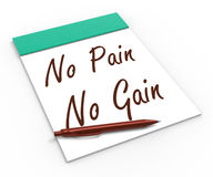 No Pain No Gain Notebook Shows Hard Work Royalty Free Stock Image