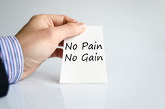 No pain no gain text concept. Isolated over white background stock photography
