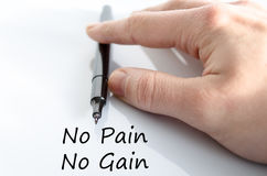 No pain no gain text concept. Isolated over white background Stock Photo