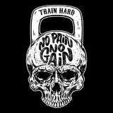No pain no gain. Train hard. Skull in the form of a weight. royalty free illustration