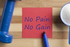 No Pain, No Gain written on note. No Pain, No Gain written in note with sport supplement and dumbbell on wooden desk. Top view Stock Image