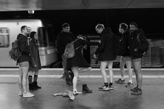 No Pants Day Vienna Subway Ride Stock Image