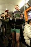 No Pants Day Vienna Subway Ride Stock Photos