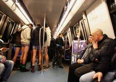 No Pants Subway Ride Bucharest 2015 Stock Image