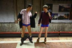 No Pants Subway Ride in Bucharest, Romania Stock Photo