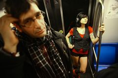No Pants Subway Ride in Bucharest, Romania Royalty Free Stock Photography