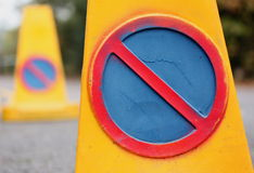 No parking. Two colorful no parking signs Stock Photo