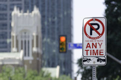 No Parking Any Time. Parking Prohibition Sign in Dallas Royalty Free Stock Photo