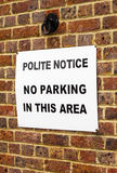 No parking in this area sign Stock Image