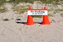 No parking on the beach Royalty Free Stock Image