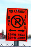 No Parking in Bus School Zone Sign With Applicable Hours stock photo