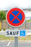 No parking disabled drivers only sign in France Stock Image