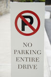 No Parking Driveway sign. Low angle view of no parking entire driveway sign Stock Images