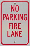 No Parking Fire Lane Sign. In a parking lot in Prince Frederick, Maryland USA royalty free stock photography