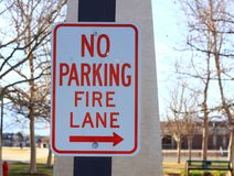No parking Fire Lane sign. In outdoor park Stock Photo