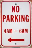 No Parking Here. A no parking street sign stock images