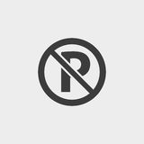 No parking icon in a flat design in black color. Vector illustration eps10 Royalty Free Stock Photos