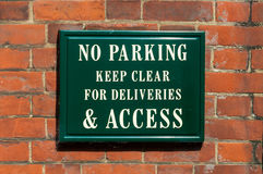 No Parking keep clear for deliveries & access Royalty Free Stock Photos