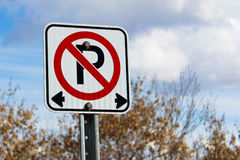 No parking left or right of the sign Royalty Free Stock Photo