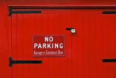 No Parking Red Garage Door Royalty Free Stock Photos