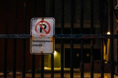 No parking road sign at night stock photos