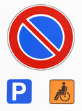 No parking road sign. Reserved disabled drivers Royalty Free Stock Images