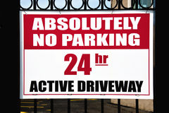 No Parking sign. Absolutely no parking sign on the entrance royalty free stock photos