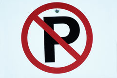 No parking sign. Close-up image of a sign showing a no parking symbol Royalty Free Stock Photos