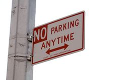 No parking sign. No parking anytime sign Royalty Free Stock Photo