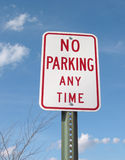 No Parking Sign. No Parking Any Time sign under blue sky Stock Photography