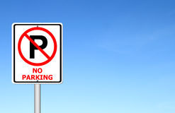 No parking sign with blue sky Royalty Free Stock Images