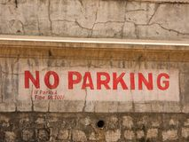 No parking sign in the city of Mysore. India Royalty Free Stock Photo